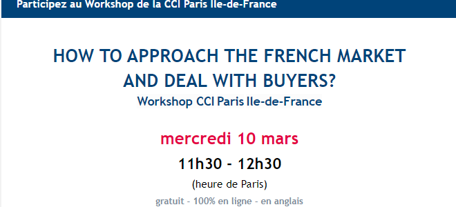 """March 10th – members' workshop """"How to Approach French Market and Deal with Buyers"""""""